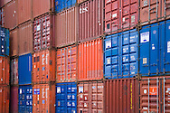 containers stacked at storage facility