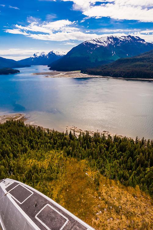 Aerial view, Pack Creek Bear Sanctuary on Admiralty Island, southeast Alaska USA.