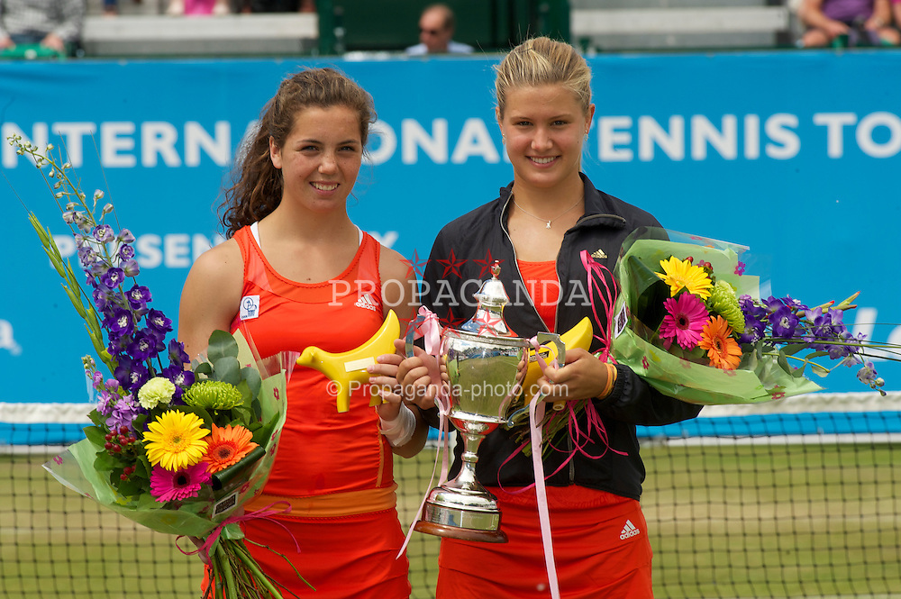 LIVERPOOL, ENGLAND - Saturday, June 19, 2010: Women's Champion Eugenie Bouchard (CAN) (R) and runner-up Ulrikke Eikeri (NOR) after the Ladies' Singles Final on day four of the Liverpool International Tennis Tournament at Calderstones Park. (Pic by David Rawcliffe/Propaganda)