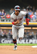 May 8, 2018 - Milwaukee, WI, U.S. - MILWAUKEE, WI - MAY 08: Cleveland Indians Shortstop Francisco Lindor (12) runs to 3rd during a MLB game between the Milwaukee Brewers and Cleveland Indians on May 8, 2018 at Miller Park in Milwaukee, WI. The Brewers defeated the Indians 3-2.(Photo by Nick Wosika/Icon Sportswire) (Credit Image: © Nick Wosika/Icon SMI via ZUMA Press)