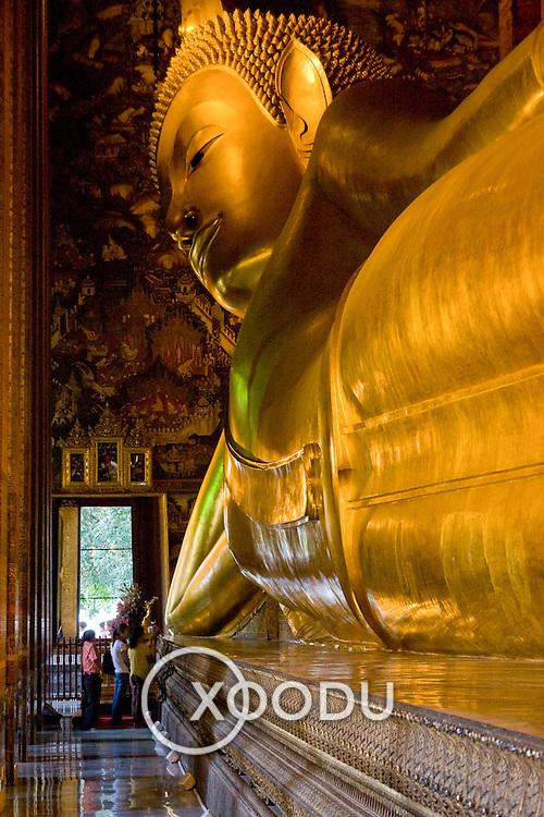 Head of huge Reclining Buddha statue (Bangkok, Thailand - Oct. 2008) (Image ID: 081012-1533271a)