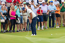 May 9, 2019 - Dallas, TX, U.S. - DALLAS, TX - MAY 09: Brooks Koepka putts from just off the ninth green during the first round of the AT&T Byron Nelson on May 9, 2019 at Trinity Forest Golf Club in Dallas, TX. (Photo by Andrew Dieb/Icon Sportswire) (Credit Image: © Andrew Dieb/Icon SMI via ZUMA Press)