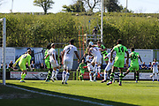Forest Green Rovers Christian Doidge(9) gets up to head the ball during the Vanarama National League Play Off second leg match between Forest Green Rovers and Dagenham and Redbridge at the New Lawn, Forest Green, United Kingdom on 7 May 2017. Photo by Shane Healey.