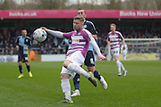 Elliot Johnson of Barnet FC during the Sky Bet League 2 match between Wycombe Wanderers and Barnet at Adams Park, High Wycombe, England on 16 April 2016. Photo by Dennis Goodwin.