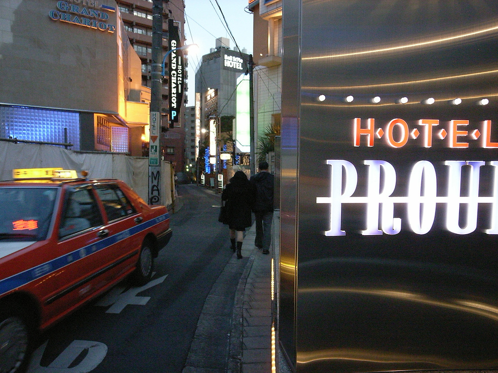 love hotels in the Shinjuku district of Tokyo. nearly all meetings with  sex volunteers take place  in a love hotels.