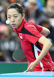 February 23, 2018 - London, England, United Kingdom - Tianwei FENG of Singapore .during 2018 International Table Tennis Federation World Cup match betweenTianwei FENG of Singapore against Tin-Tin HO of England  at Copper Box Arena, London  England on 23 Feb 2018. (Credit Image: © Kieran Galvin/NurPhoto via ZUMA Press)