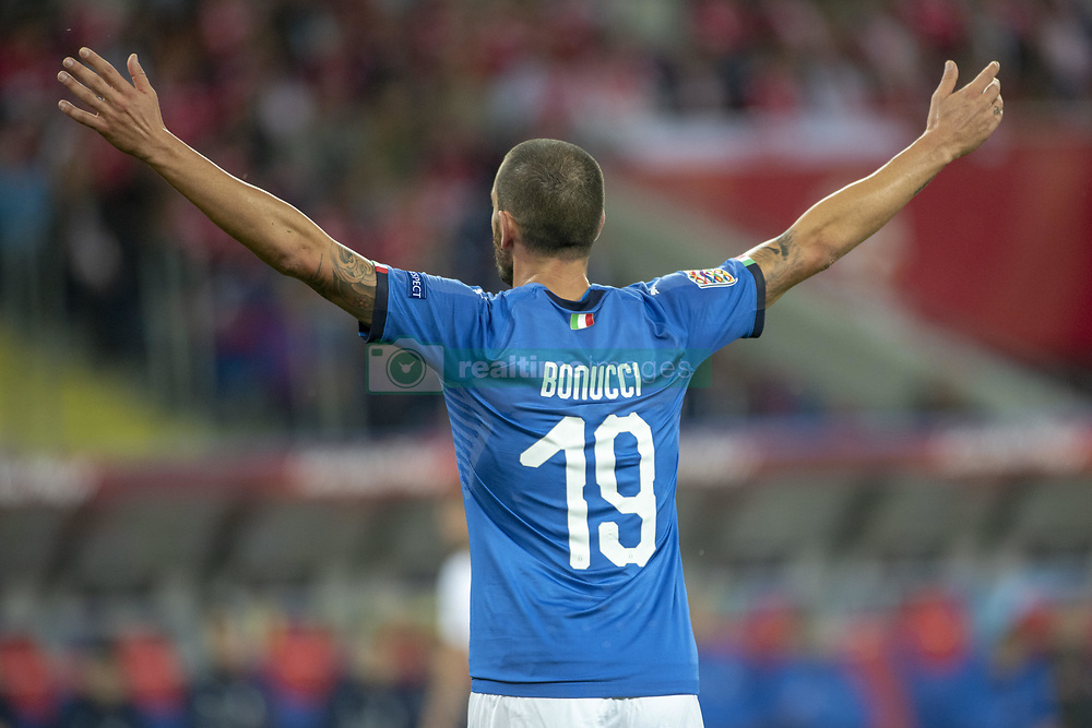 October 14, 2018 - Chorzow, Poland - Leonardo Bonucci of Italy react during the UEFA Nations League A match between Poland and Italy at Silesian Stadium in Chorzow, Poland on October 14, 2018  (Credit Image: © Andrew Surma/NurPhoto via ZUMA Press)