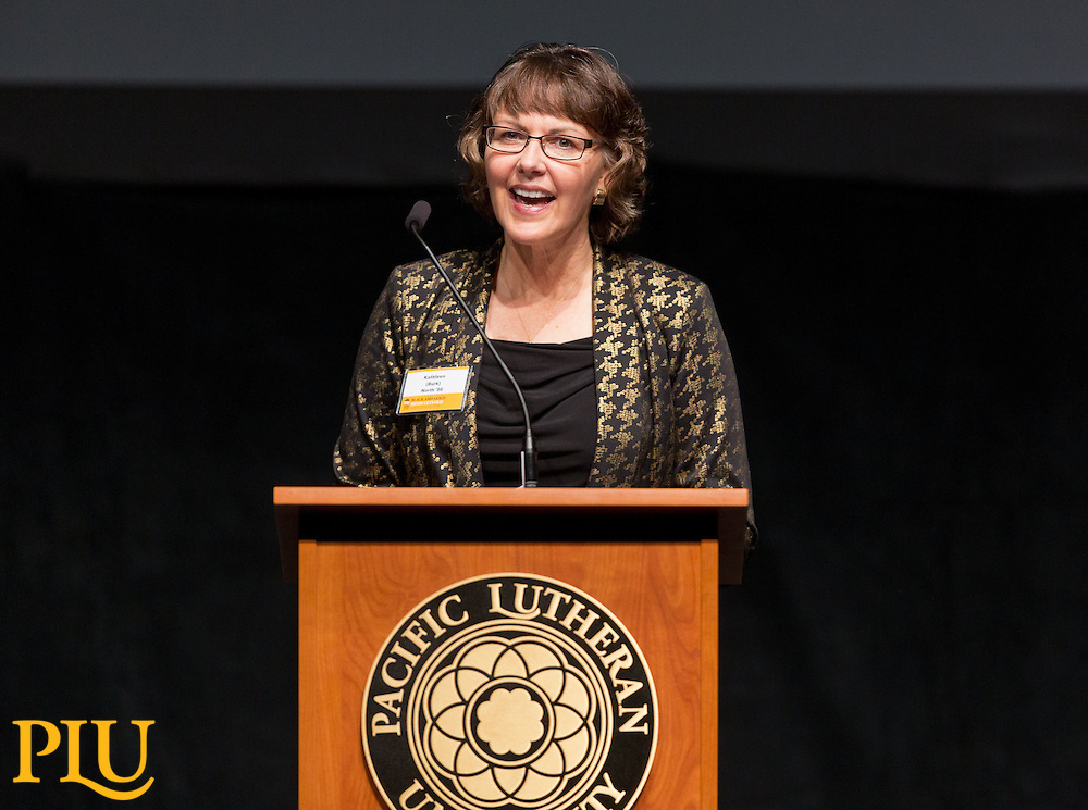 Kathleen (Burk) North speaking during the Alumni awards in the Karen Hille Phillips Center at PLU on Friday, Oct. 9, 2015. (Photo/John Froschauer)