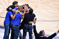 Branko Cveticanin, dr. med., Matej Erjavec, Klemen Prepelic of Slovenia, Zoran Jankovic celebrate after winning during basketball match between National Teams of Slovenia and Latvia at Day 13 in Round of 16 of the FIBA EuroBasket 2017 at Sinan Erdem Dome in Istanbul, Turkey on September 12, 2017. Photo by Vid Ponikvar / Sportida