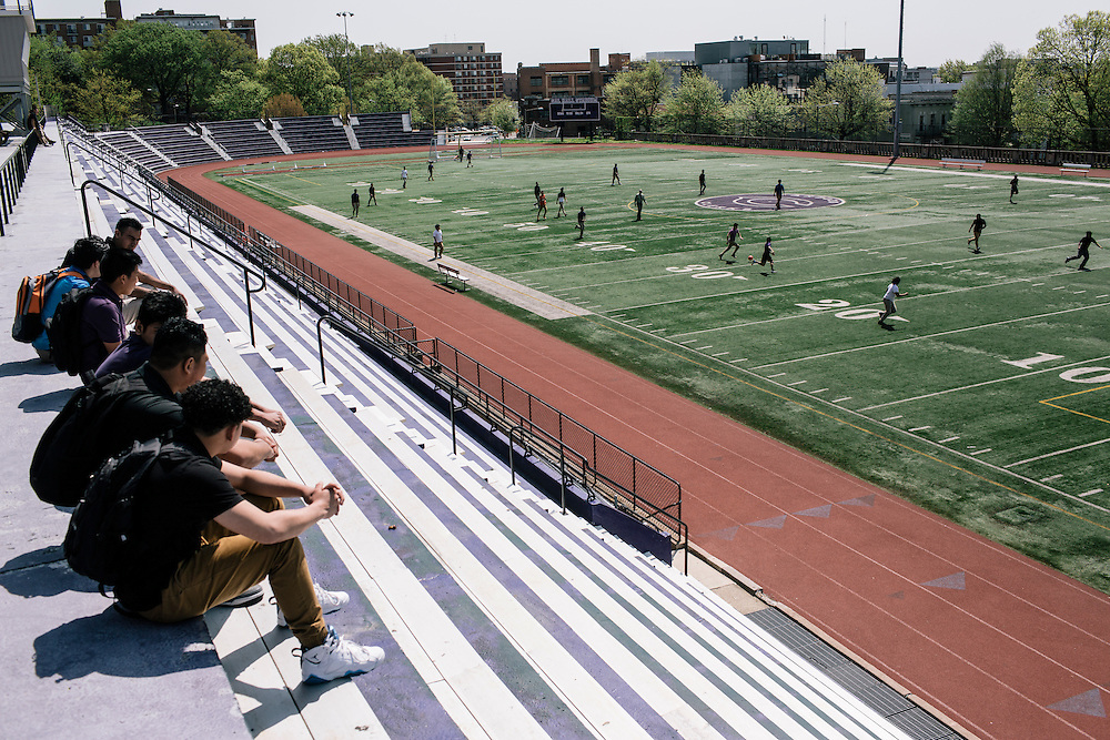 Students in Washington D.C.'s first-year International Academy for English-language learners play a game of soccer during their lunch hour on the school turf at the International Academy at Cardozo Education Campus on April 22, 2015. The program is aimed at dealing with the influx of unaccompanied minors, mostly from Central American countries, and allows them to be in classes of 25 together. Currently Cardozo, in NW Washington DC has about 200 of these students.