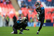 Jason Myers of Jacksonville Jaguars warms up during the International Series match between Indianapolis Colts and Jacksonville Jaguars at Wembley Stadium, London, England on 2 October 2016. Photo by Jason Brown.