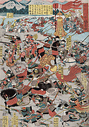 The Great Battle of Kawanakjima in Shinsu: probably the 1561 fourth  battle between the warlords Takeda Shingen and Uesugi Keushin on the plains of the Chikmu River.   Utagawa Yoshitoro (active 1850-1870) Japanese artist.
