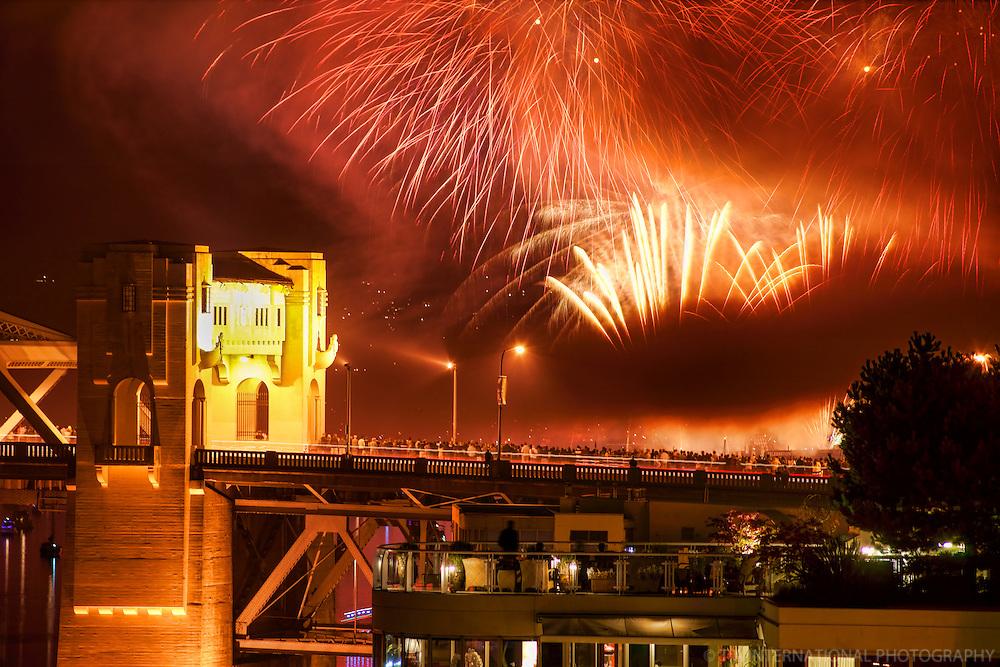 Spectators along Burrard Bridge, Celebration of Light 2013