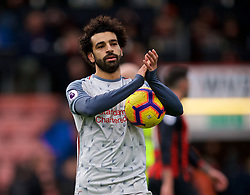 BOURNEMOUTH, ENGLAND - Saturday, December 8, 2018: Liverpool's hat-trick hero Mohamed Salah with the match ball after the 4-0 victory over AFC Bournemouth during the FA Premier League match between AFC Bournemouth and Liverpool FC at the Vitality Stadium. (Pic by David Rawcliffe/Propaganda)