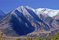 13,333 ft. Twin Peaks with 13,783 ft. Rinker Peak to the right.  Sawatch Range, Colorado.