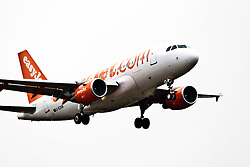 An easyJet plane on approach to Edinburgh airport..©Pic : Michael Schofield.