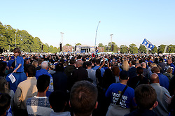 Leicester City supporters pack Victoria Park for the celebration of Leicester City's Premier League Title Victory - Mandatory by-line: Robbie Stephenson/JMP - 16/05/2016 - FOOTBALL - Leicester City FC, Barclays Premier League Winners 2016 - Leicester City Victory Parade