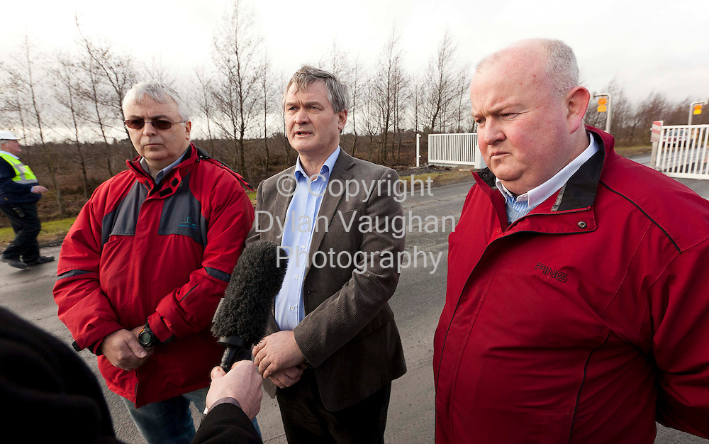 3/2/2011.From left Brian Keady, mine manager, John Elmes, general manager and Alan Buckley, finance manager pictured at Lisheen mines in Tipperary yesterday..Picture Dylan Vaughan....