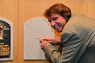 COOPERSTOWN, NY - JULY 25: Hall of Fame Inductee Randy Johnson points to the future location of his plaque at the National Baseball Hall of Fame Museum on July 25, 2015 in Cooperstown, NY. (Photo by Jennifer Stewart/Arizona Diamondbacks/Getty Images)
