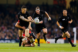 New Zealand Inside Centre Sonny Bill Williams offloads from a tackle - Mandatory byline: Rogan Thomson/JMP - 07966 386802 - 02/10/2015 - RUGBY UNION - Millennium Stadium - Cardiff, Wales - New Zealand v Georgia - Rugby World Cup 2015 Pool C.