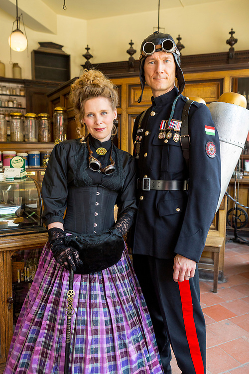 Ironbridge, United Kingdom. 23rd June 2018. Steampunk festival at Blists Hill Victorian Town, a recreation of a Victorian town and many of its industries during the 18th and 19th Centuries. in Ironbridge, United Kingdom.Credit: Christopher Griffiths/Alamy Live News.