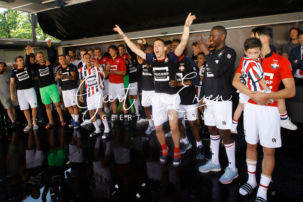 Supporters of Willem II celebrating the season with the players and staff, *Kostas Tsimikas* of Willem II