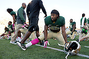WACO, TX - OCTOBER 19: Lache Seastrunk #25 of the Baylor Bears stretches before kickoff against the Iowa State Cyclones on October 19, 2013 at Floyd Casey Stadium in Waco, Texas.  (Photo by Cooper Neill/Getty Images) *** Local Caption *** Lache Seastrunk