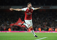 Football - 2017 / 2018 Premier League - Arsenal vs. Leicester City<br /> <br /> Olivier Giroud of Arsenal celebrates scoring the winning goal (no 4)  at The Emirates.<br /> <br /> COLORSPORT/ANDREW COWIE