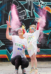 Repro Free: 12/05/2014 Dublin <br /> Sarah Collins from Galway and Alexandra Kelly (4) from Stepaside, Dublin are pictured getting colourfull as the Irish Cancer Society and Crown call on people to add some colour to their lives and sign up today to take part in the Irish Cancer Society&rsquo;s Colour Dash. Together, we won&rsquo;t give up until cancer does. To register for your place CallSave our team on 1850 60 60 60 or visit www.cancer.ie 