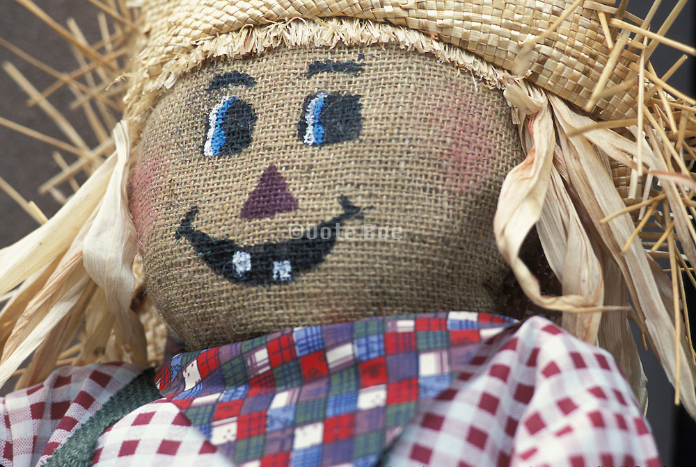 close up of scarecrow with straw hat