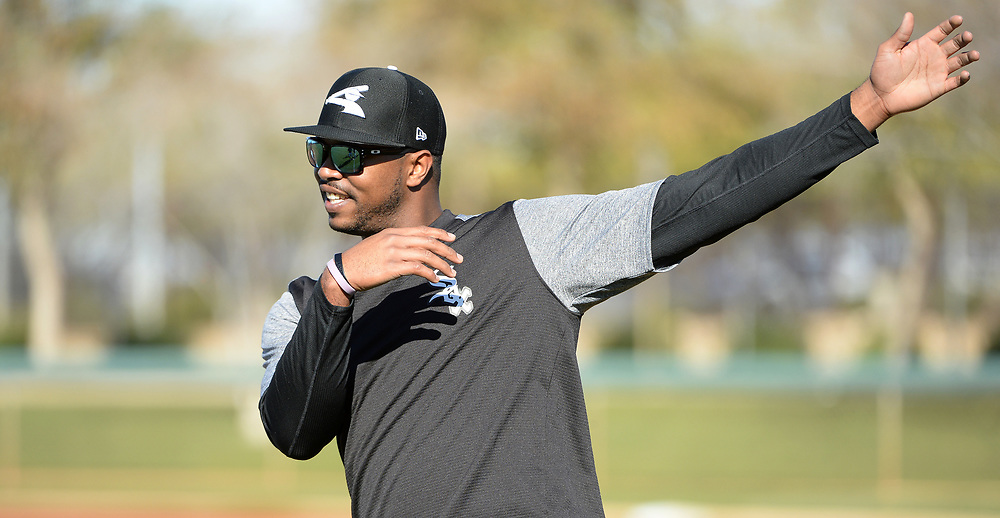 GLENDALE, ARIZONA - FEBRUARY 19: Eloy Jimenez #74 of the Chicago White Sox stretches during spring training workouts on February 19, 2019 at Camelback Ranch in Glendale Arizona.  (Photo by Ron Vesely). Subject:   Eloy Jimenez