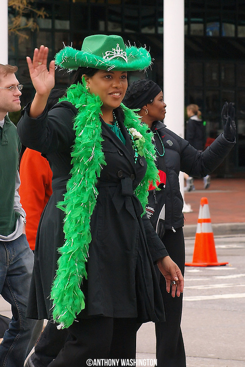 Baltimore City Mayor Stephanie Rawlings-Blake waves to the crowd during Baltimore's St. Patrick's Day Parade on Sunday, March 14, 2010.