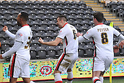 Milton Keynes Dons midfielder Antony Kay(6) celebrates scoring goal to go 1-0 up  during the Sky Bet Championship match between Hull City and Milton Keynes Dons at the KC Stadium, Kingston upon Hull, England on 12 March 2016. Photo by Ian Lyall.