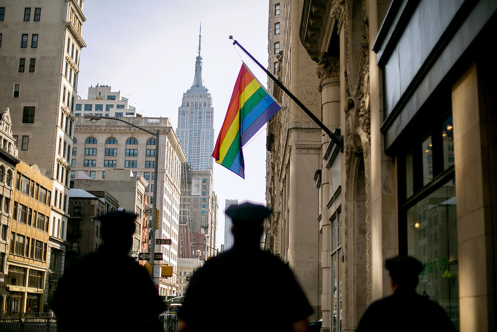 NEW YORK, NY - JUNE 26, 2016: NYPD officers walk along 5th Avenue in preparation for the annual Pride parade in New York, New York. CREDIT: Sam Hodgson for The New York Times.