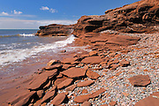 Red rock along the Gulf of St. Lawrence<br /> Lameque Island<br /> New Brunswick<br /> Canada