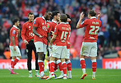 Bristol City's Jay Emmanuel-Thomas jokes with Bristol City's Luke Freeman after the game - Photo mandatory by-line: Dougie Allward/JMP - Mobile: 07966 386802 - 22/03/2015 - SPORT - Football - London - Wembley Stadium - Bristol City v Walsall - Johnstone Paint Trophy Final