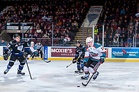 KELOWNA, CANADA - DECEMBER 30: Kole Lind #16 of the Kelowna Rockets skates over centre ice with the puck against the Victoria Royals on December 30, 2017 at Prospera Place in Kelowna, British Columbia, Canada.  (Photo by Marissa Baecker/Shoot the Breeze)  *** Local Caption ***
