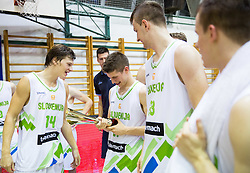 Jaka Klobucar of Slovenia, Aleksej Nikolic of Slovenia, Alen Omic of Slovenia after the friendly basketball match between National teams of Slovenia and Ukraine at day 3 of Adecco Cup 2014, on July 26, 2014 in Rogaska Slatina, Slovenia. Photo by Vid Ponikvar / Sportida.com