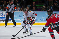 KELOWNA, CANADA - OCTOBER 4:  Alex Schoenborn #22 of the Portland Winterhawks skates with the puck at the Kelowna Rockets on October 4, 2013 at Prospera Place in Kelowna, British Columbia, Canada (Photo by Marissa Baecker/Shoot the Breeze) *** Local Caption ***