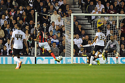 Bournemouth's Callum Wilson takes a shot at goal. - Photo mandatory by-line: Dougie Allward/JMP - Mobile: 07966 386802 - 30/09/2014 - SPORT - Football - Derby - Pride Park - Derby County v AFC Bournemouth - Sky Bet Championship