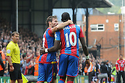 Yohan Cabaye and Yannick Bolasie celebrate the opener during the Barclays Premier League match between Crystal Palace and West Bromwich Albion at Selhurst Park, London, England on 3 October 2015. Photo by Michael Hulf.