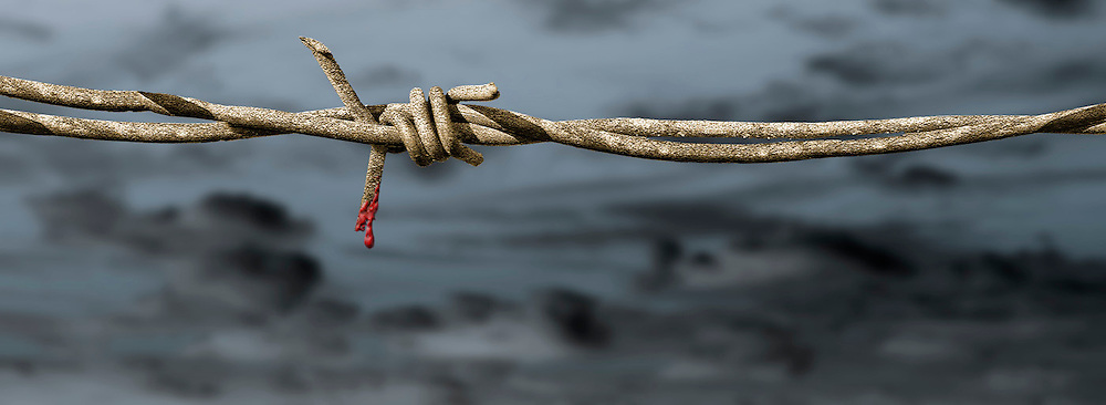 barbed wire with blood