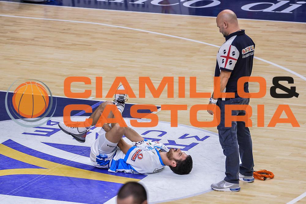 DESCRIZIONE : Campionato 2015/16 Serie A Beko Dinamo Banco di Sardegna Sassari - Consultinvest VL Pesaro<br /> GIOCATORE : Lorenzo D'Ercole<br /> CATEGORIA : Riscaldamento Before Pregame Stretching<br /> SQUADRA : Dinamo Banco di Sardegna Sassari<br /> EVENTO : LegaBasket Serie A Beko 2015/2016<br /> GARA : Dinamo Banco di Sardegna Sassari - Consultinvest VL Pesaro<br /> DATA : 23/11/2015<br /> SPORT : Pallacanestro <br /> AUTORE : Agenzia Ciamillo-Castoria/L.Canu