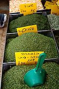 Israel, Tel Aviv, Lewinski market, dried herbs and spices, parsley, dill, coriander