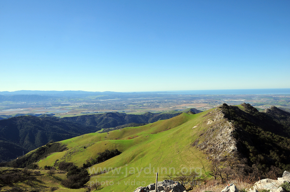 A view toward Salinas and the Monterey Peninsula seen from the slopes of Fremont Peak. The valley is well-known for stellar air-quality.
