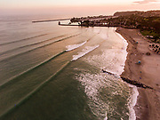 Aerial view of surfers at Doheny Beach, Dana Point, California.