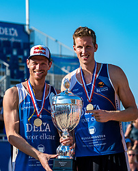 25-08-2019 NED: DELA NK Beach Volleyball, Scheveningen<br /> Last day NK Beachvolleyball / Alexander Brouwer #1 and Christiaan Varenhorst Dutch Champion Beachvolleyball 2019