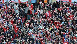 Bristol City fans celebrate Bristol City's Aden Flint's goal - Photo mandatory by-line: Dougie Allward/JMP - Mobile: 07966 386802 - 22/03/2015 - SPORT - Football - London - Wembley Stadium - Bristol City v Walsall - Johnstone Paint Trophy Final