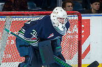 KELOWNA, CANADA - JANUARY 5: Liam Hughes #30 of the Seattle Thunderbirds stands in net against the Kelowna Rockets on January 5, 2017 at Prospera Place in Kelowna, British Columbia, Canada.  (Photo by Marissa Baecker/Shoot the Breeze)  *** Local Caption ***