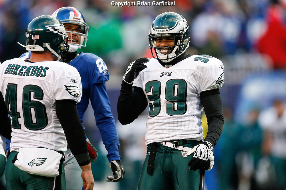 11 Jan 2009: Philadelphia Eagles safety Quintin Demps #39 smiles after a play during the game against the New York Giants on January 11th, 2009.  The  Eagles won 23-11 at Giants Stadium in East Rutherford, New Jersey.